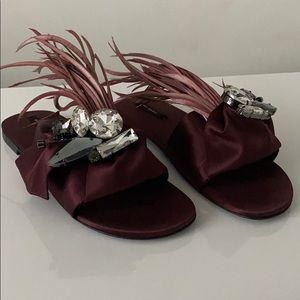 ZARA Satin sandals with crystals and feathers